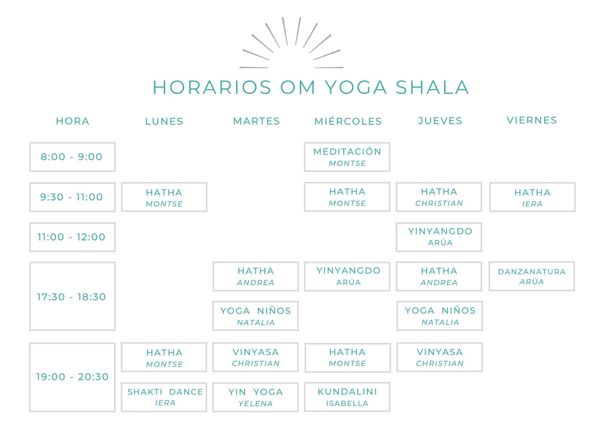 horarios yoga hatha meditación vinyasa gava